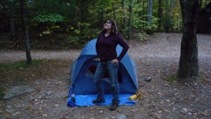 This is Nicole in her patented I conquered the camp pose.